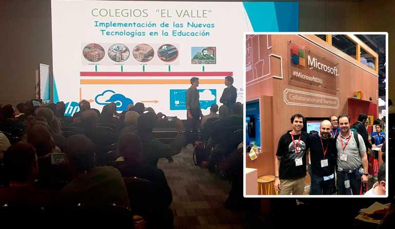 fotomontaje en primer plano profesores de los colegios el valle y de fondo una exposición sobre la implementación de nuevas tecnologías en los colegios