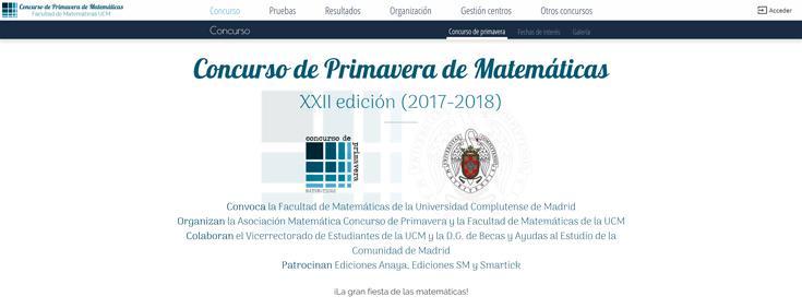 imagen de la web de Concurso de primavera de matemáticas.